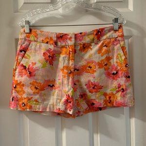 Loft Orange/Pink Floral Linen Blend Shorts size 2